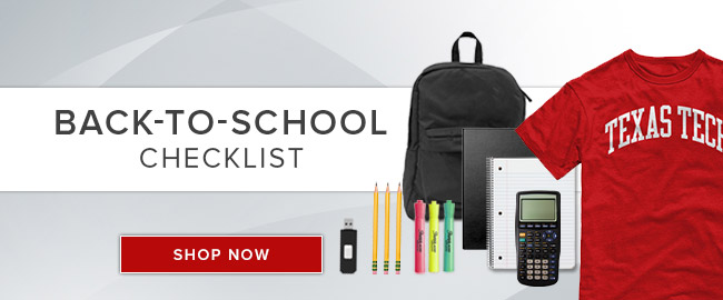 Picture of school supplies. Back-to-School Checklist. Click to shop now.