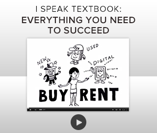 Picture of sketched characters. I Speak Textbook: Everything you need to succeed, buy or rent. Click to learn more.