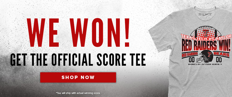 Picture of shirt. We won! Get the official Score Tee. Tee will ship with actual winning score. Click to shop now.