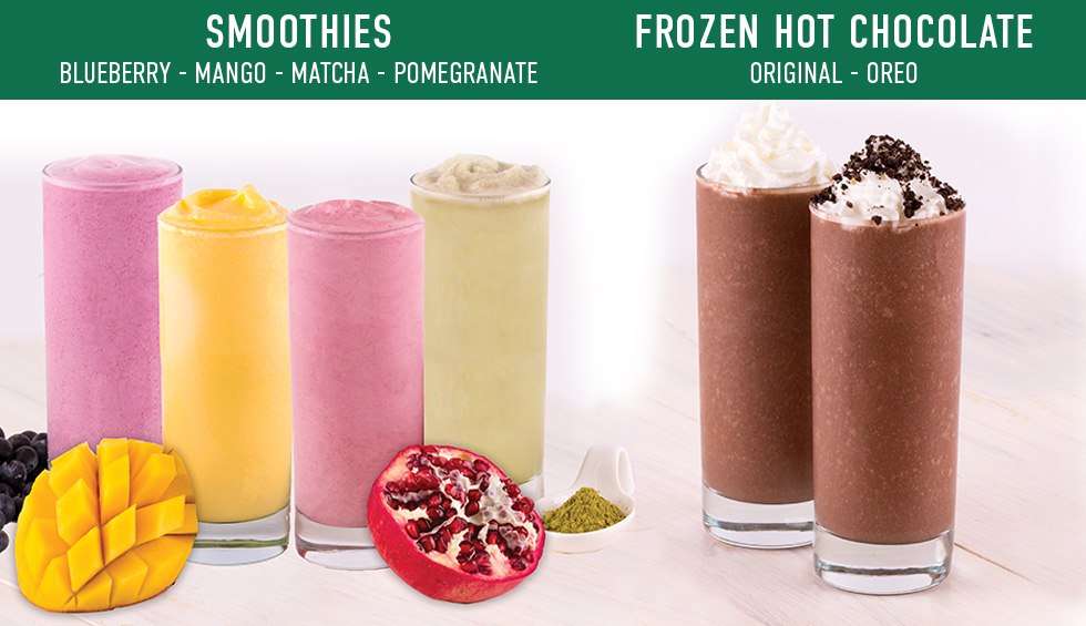 Picture of smoothies. Blueberry, Mango, Matcha, Pomegranate. Picture of frozen/hot chocolates - Original, Oreo.